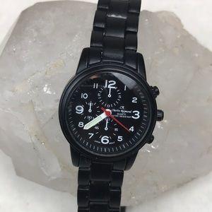 Vtg black matte chain link Charles Raymond watch